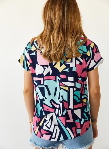 XHAN Multi Desenli Yarasa Kol Gömlek 0Yxk2-43945-12 Renkli